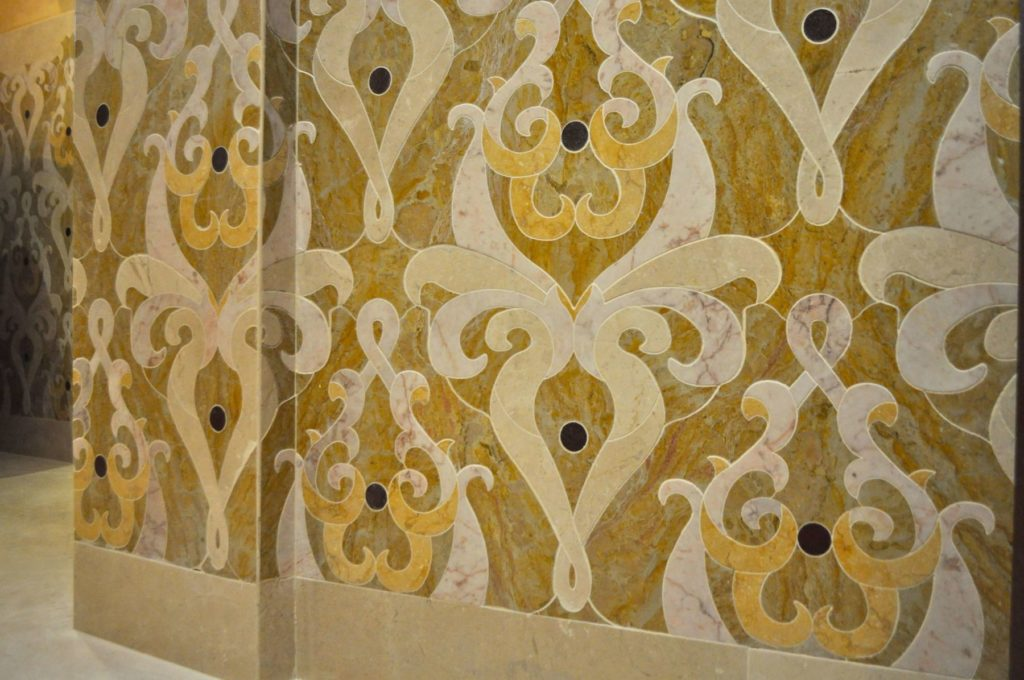 Custom Intricate Stone Inlay Wall Sorensen Floor View ENSO