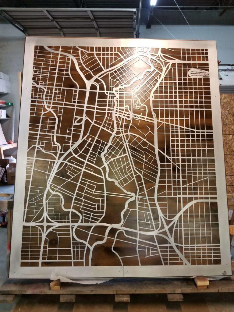 Barn Door Slider Custom Cut Metal City Map ENSO