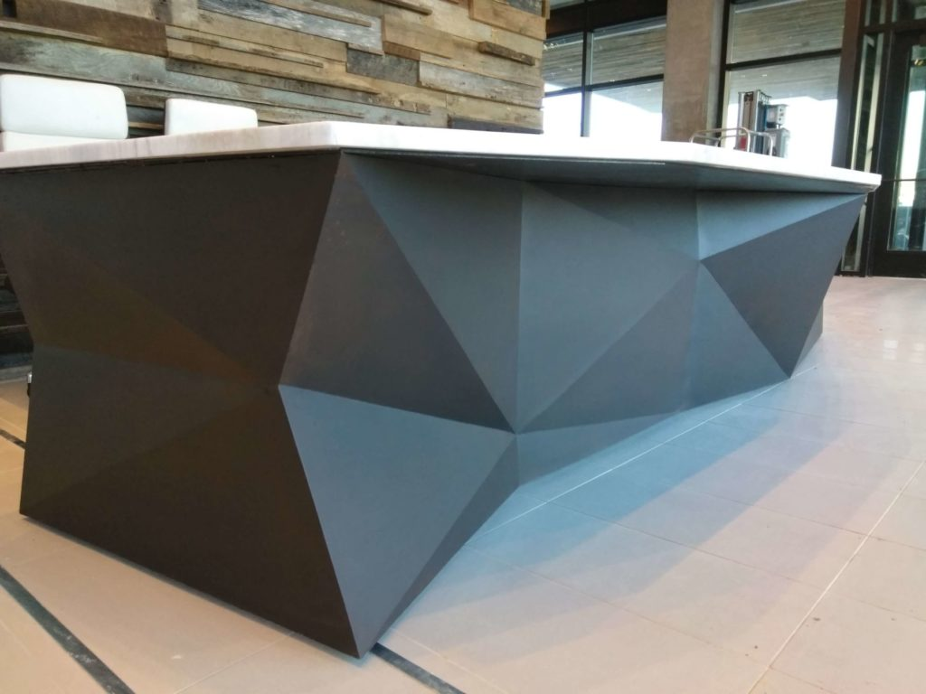 Custom Design Steel Faceted Desk Low View ENSO