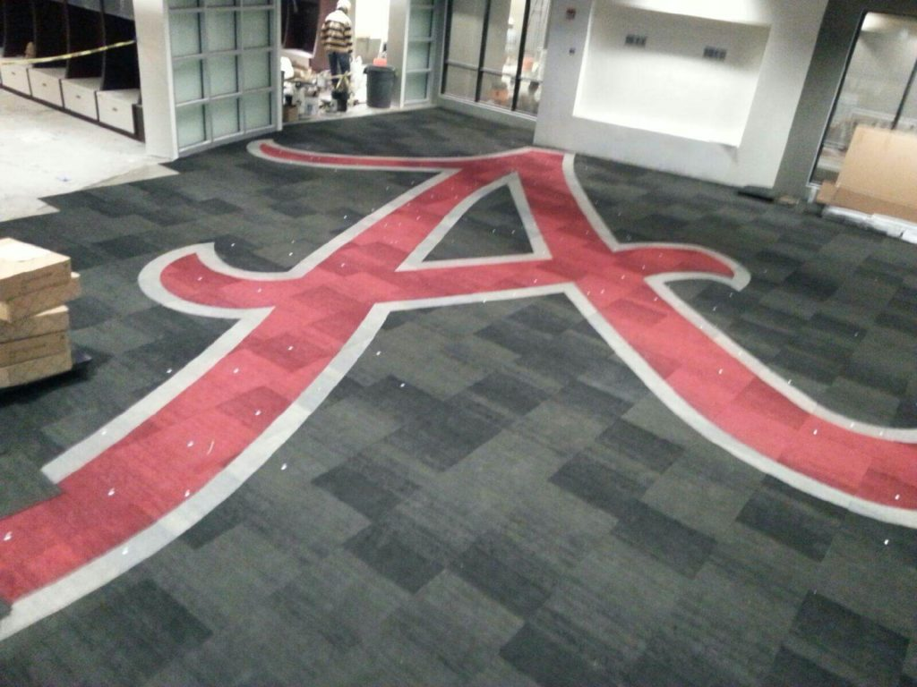 Custom Carpet Alabama A Logo Installation ENSO