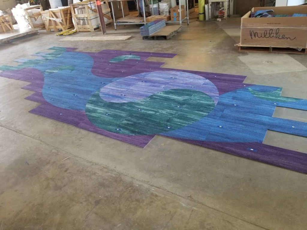 Custom Carpet Green Blue Purple Yin Yang Fabrication ENSO