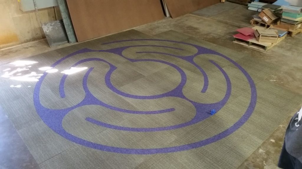 Custom Carpet Inlay Flooring Circular Purple Labyrinth ENSO