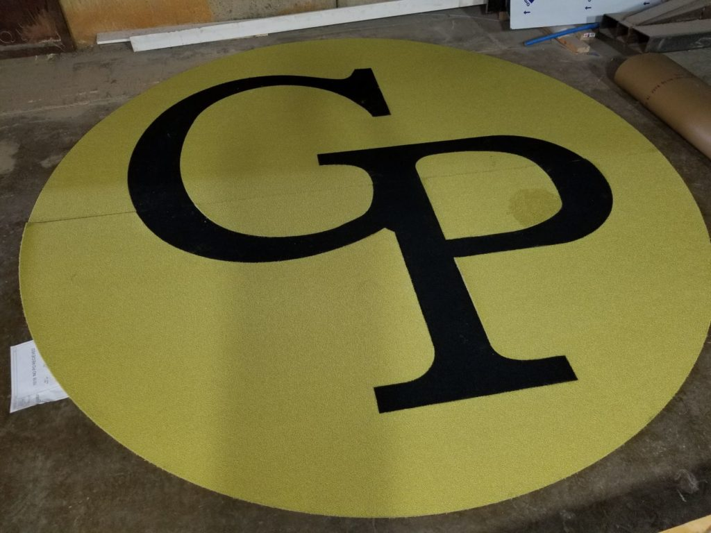 Custom Carpet Medallion Lime Green GP Logo ENSO