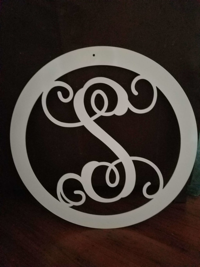 Custom Cut Design Metal Script S ENSO
