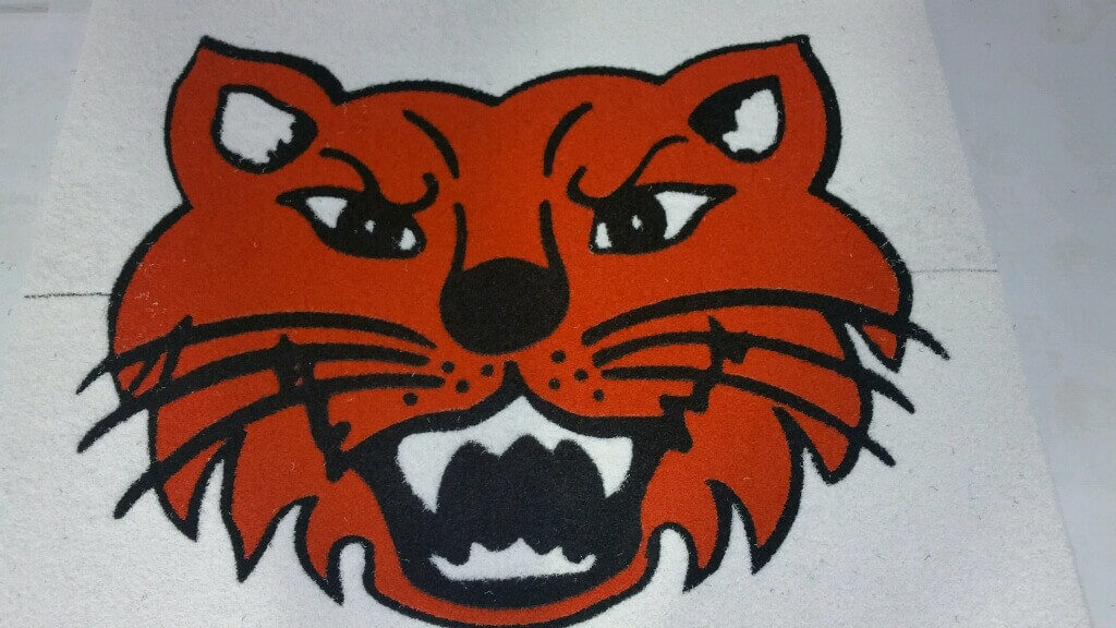 Custom Inlay Carpet Angry Orange Wildcat Logo ENSO