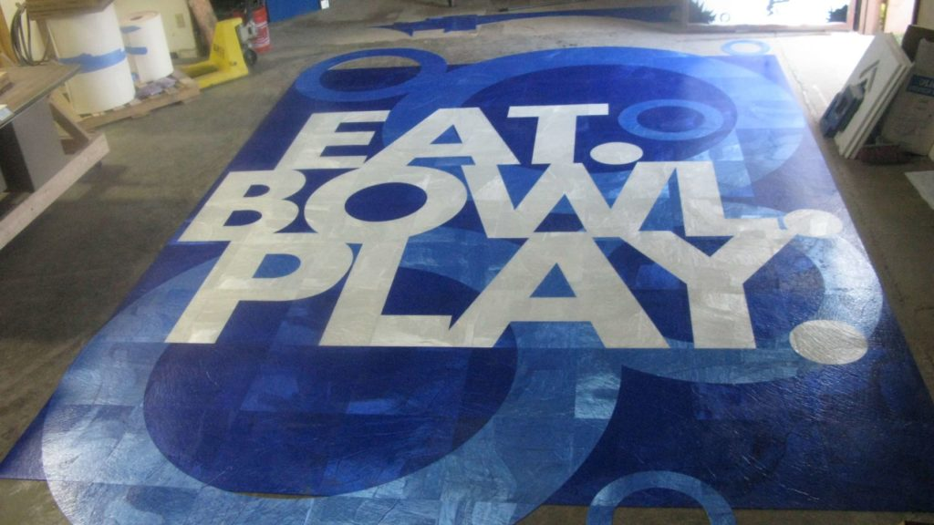 Custom Inlay Carpet Floor Eat Bowl Play Motto ENSO