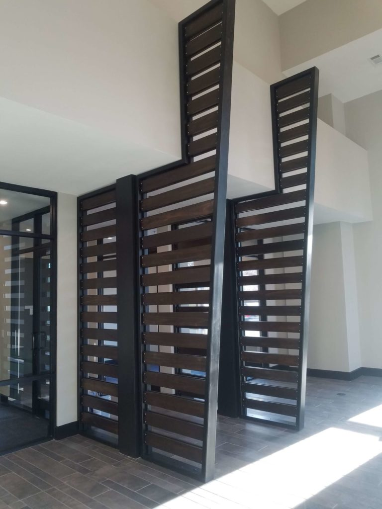 Custom Metal and Wood Room Divider Close View ENSO