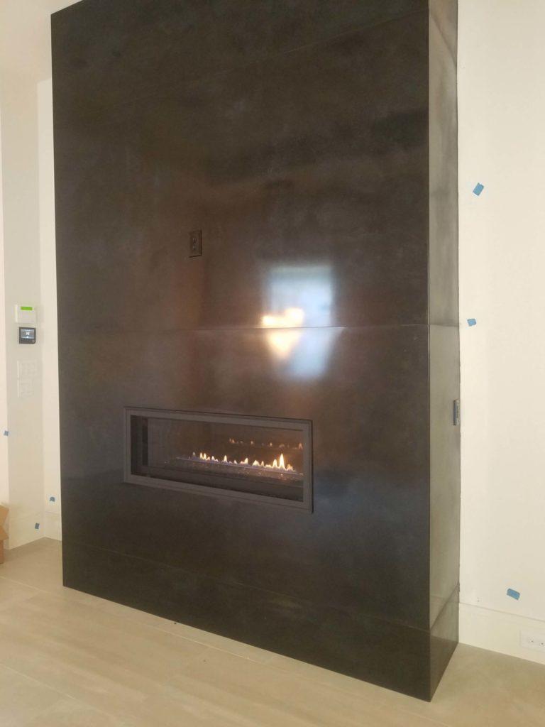 Custom Metal Fireplace Angle View ENSO