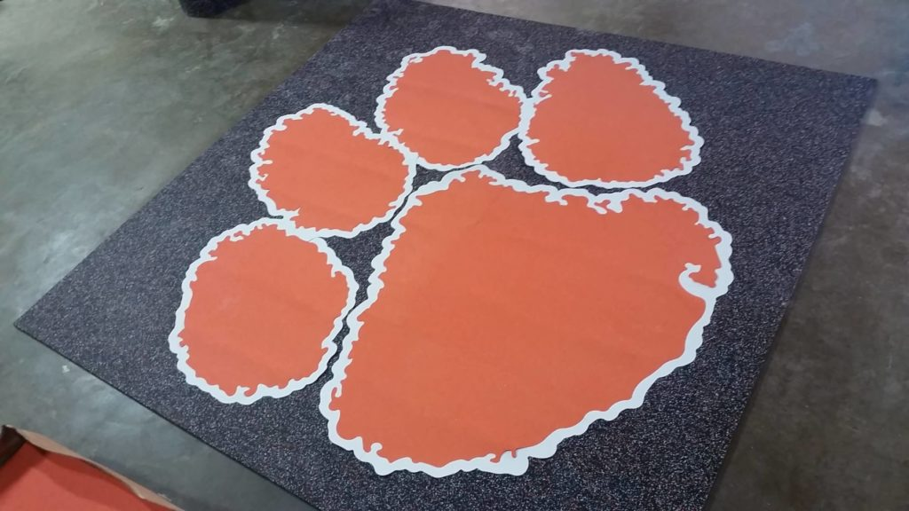 Custom Rubber Grey White and Orange Pawprint ENSO