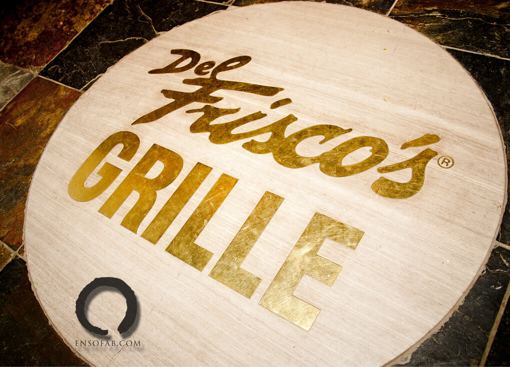 Custom Stone Floor Inlay Del Friscos Logo and Trademark ENSO