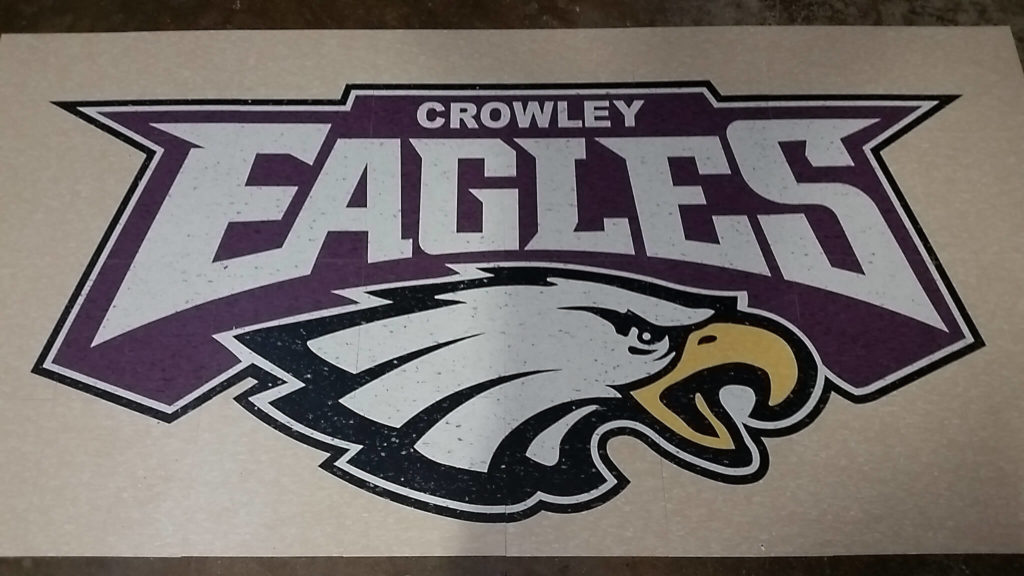 Custom VCT Floor Medallion Crowley Eagles Logo ENSO