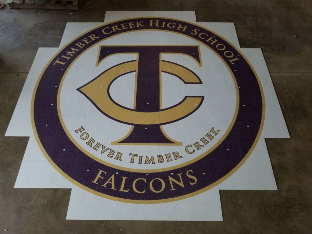 Custom VCT Floor Medallion Timbercreek HS Falcons ENSO