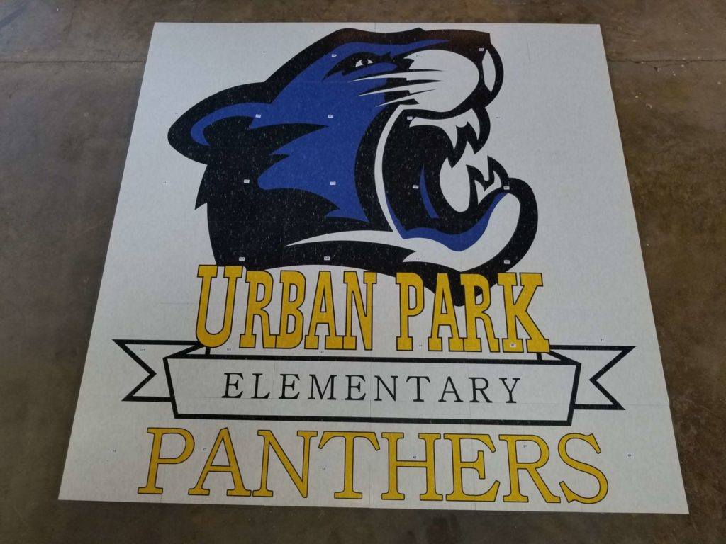 Custom VCT Floor Medallion Urban Park Elementary Panthers ENSO