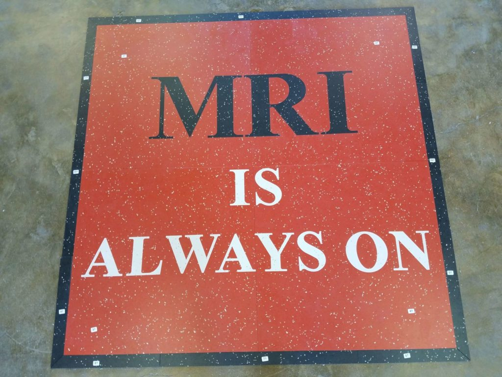 Custom VCT Floor Sign MRI Is Always On ENSO