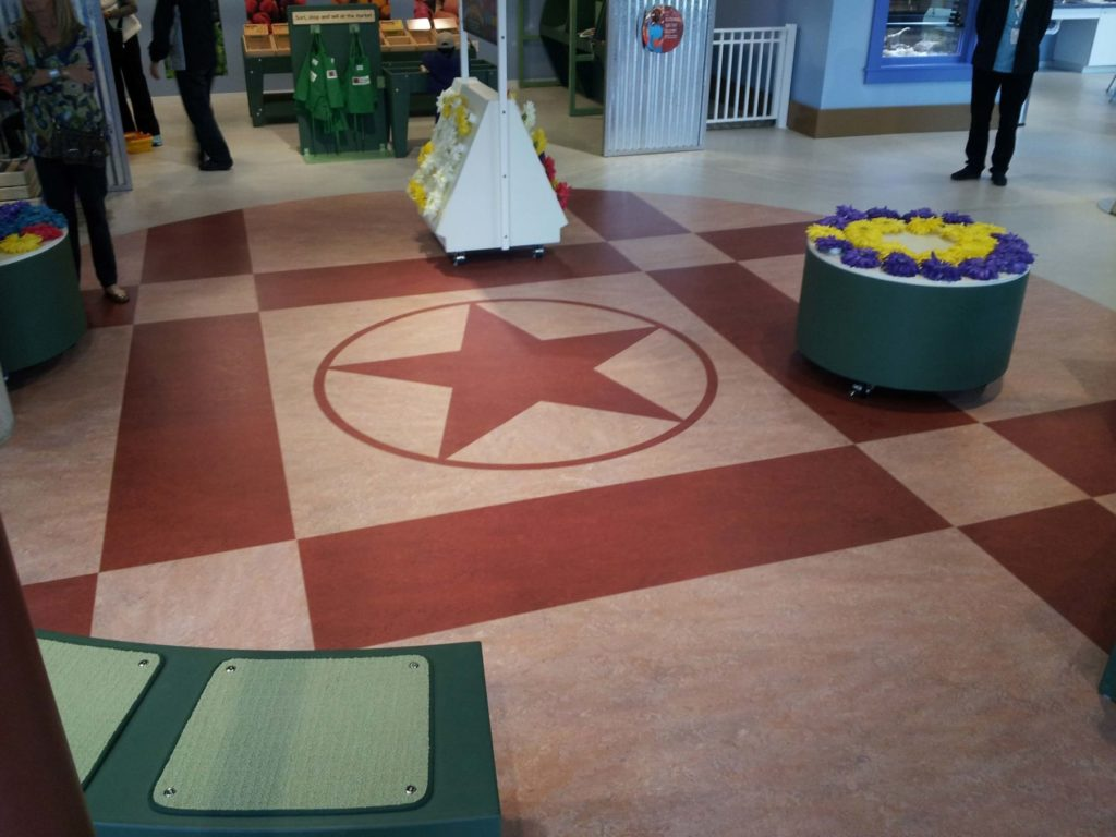 Custom VCT Flooring Circle Red Five Point Star ENSO
