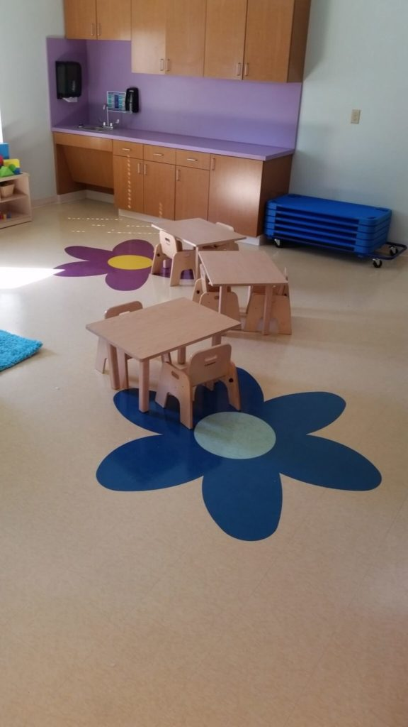 Custom VCT Flooring Colorful Playroom Flowers ENSO