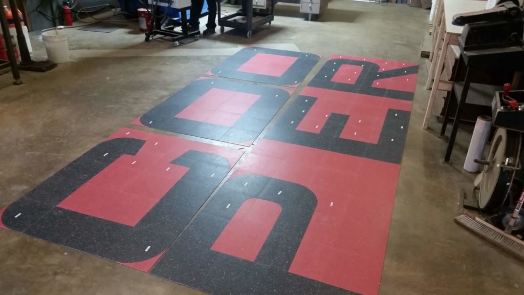 Custom VCT Flooring Cooper Letter Fabrication ENSO