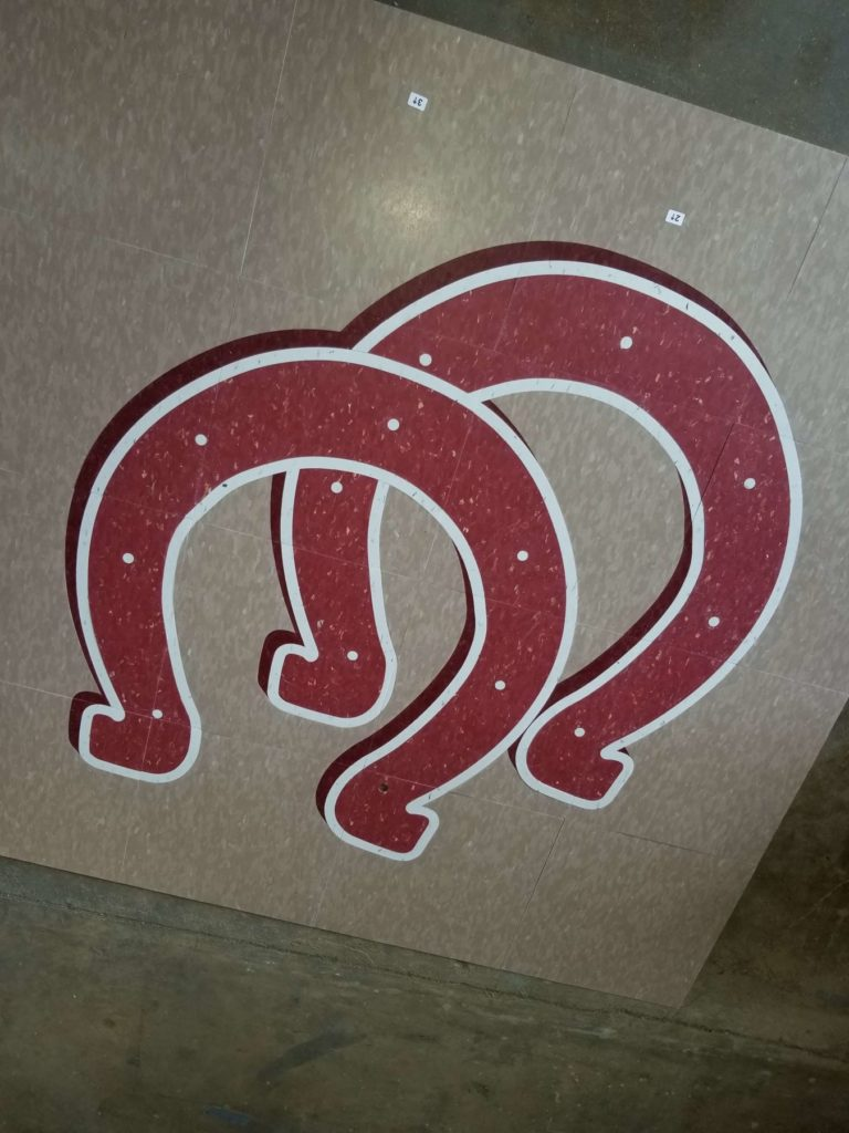Custom VCT Flooring Red Double Horseshoes ENSO