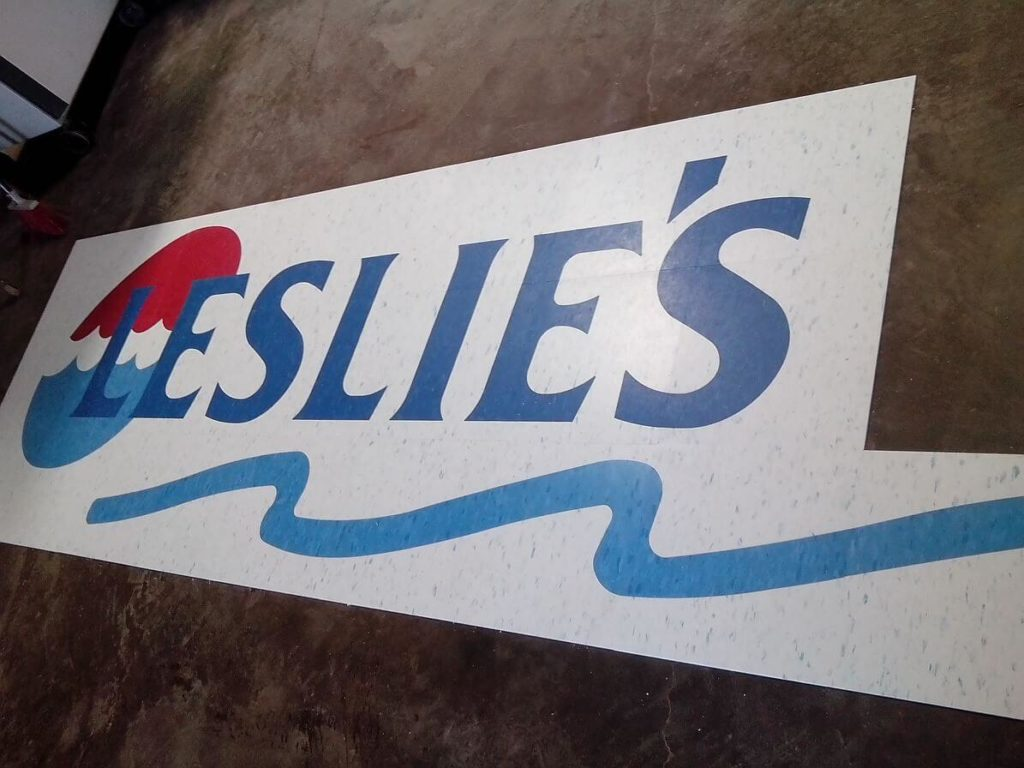 Custom VCT Leslies Pool Logo Fabrication ENSO