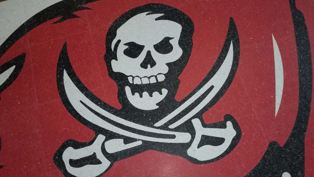 Custom VCT Red and White Jolly Roger Logo Close View ENSO