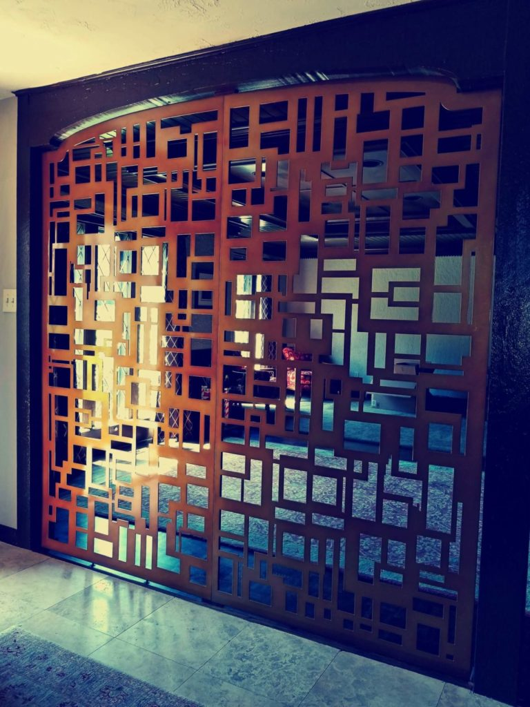 Decorative Metal Screen Door Abstract Squares Design ENSO