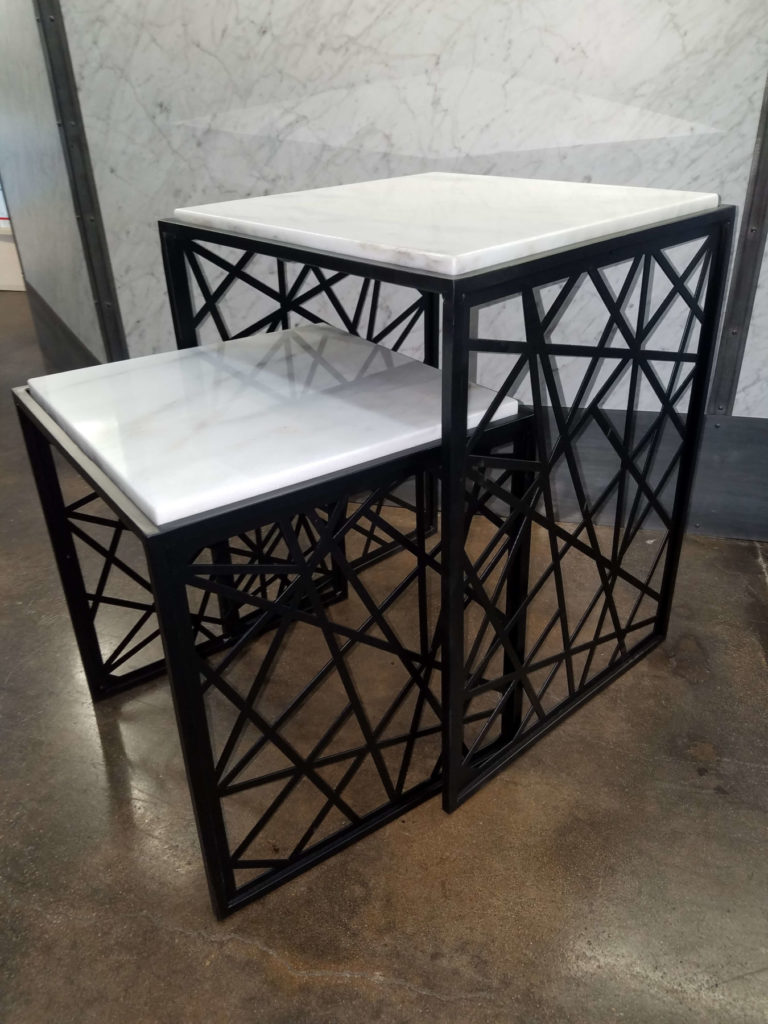Decorative Metal Screen Marble Nested Tables ENSO