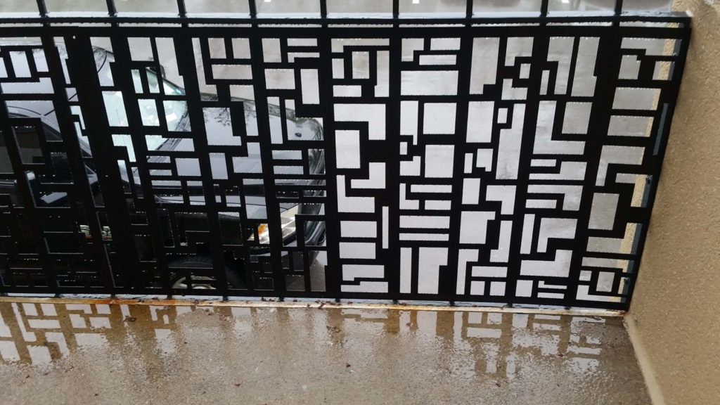 Custom Metal Railing Abstract Squares Design Close View ENSO