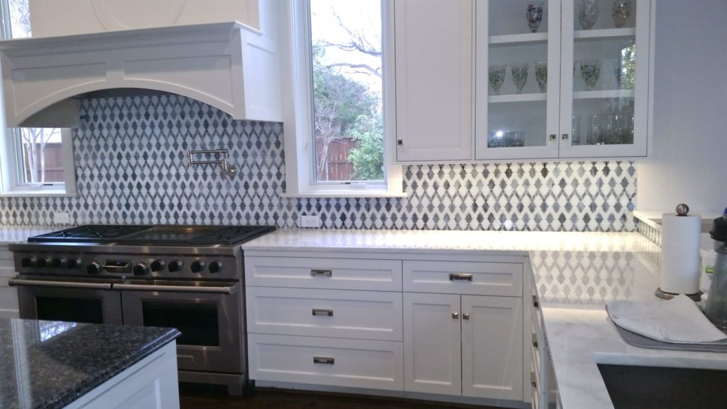 Blue and White Mosaic Kitchen Backsplash ENSO