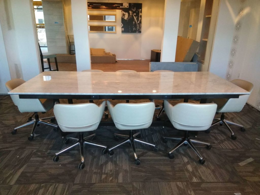 Custom Design Metal and Marble Slab Conference Table ENSO