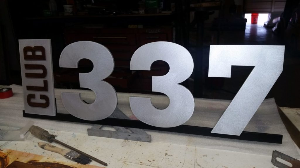 Custom Signage Club 337 During Fabrication ENSO