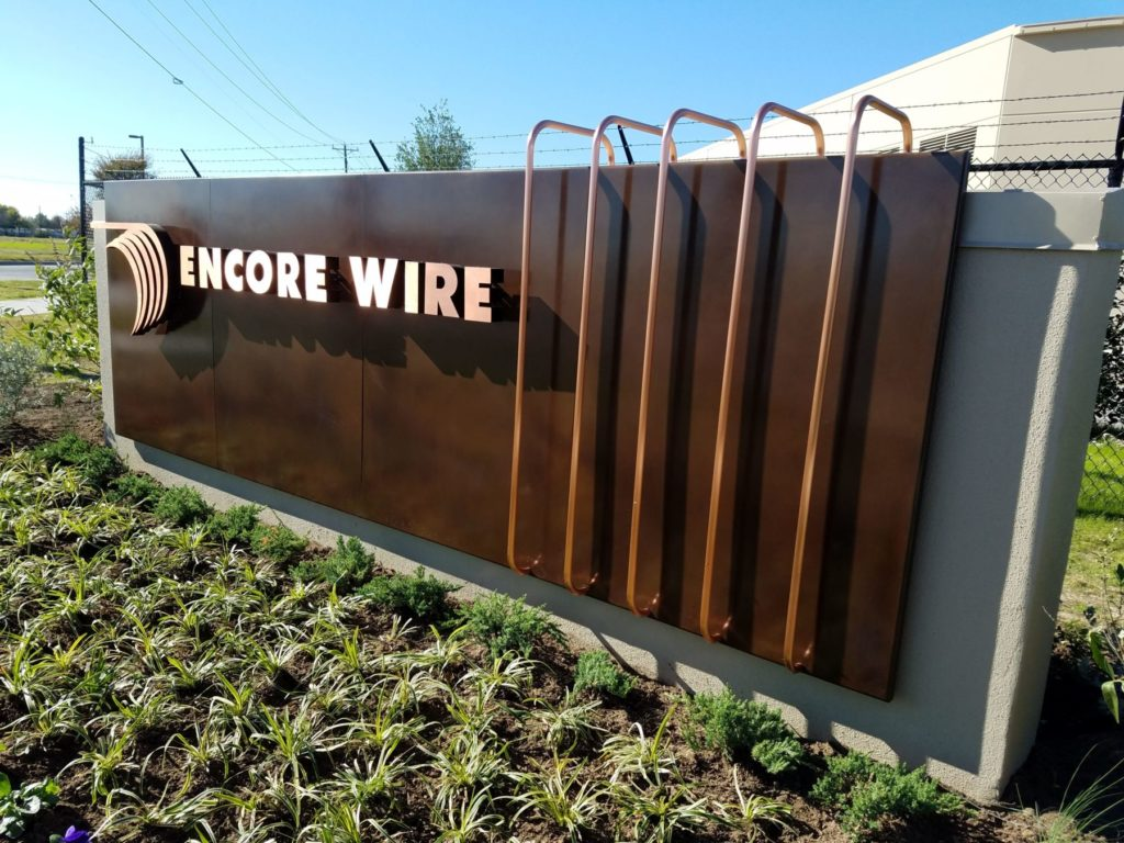 Custom Metal Copper Sign Encore Wire ENSO