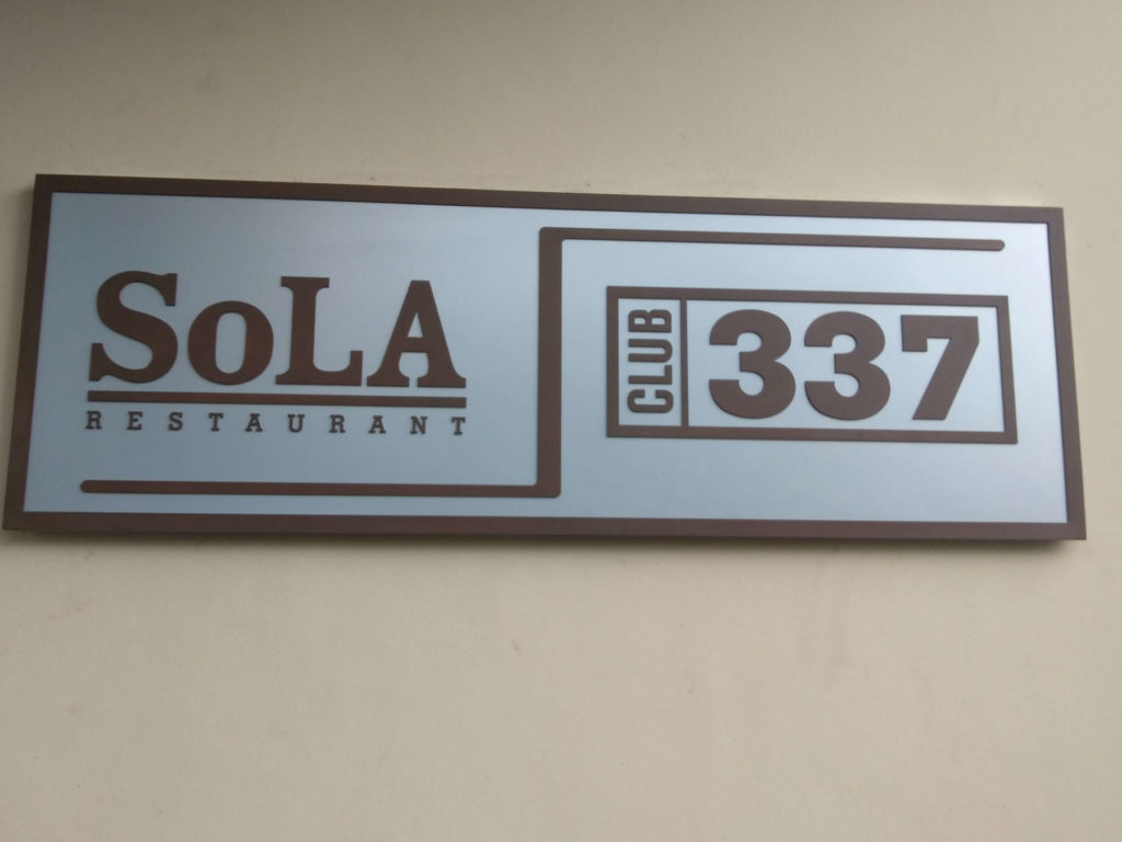 Custom Design Sign Sola Restaurant Club 337 ENSO