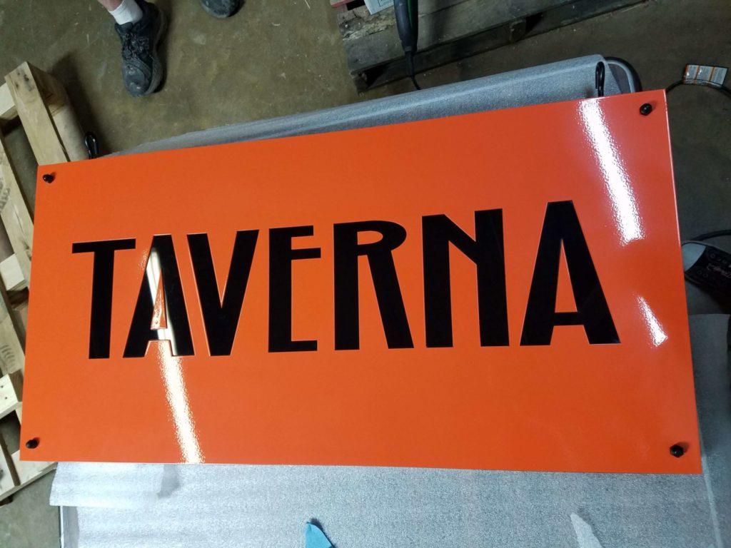Custom Design Signage Taverna Restaurant Front View ENSO