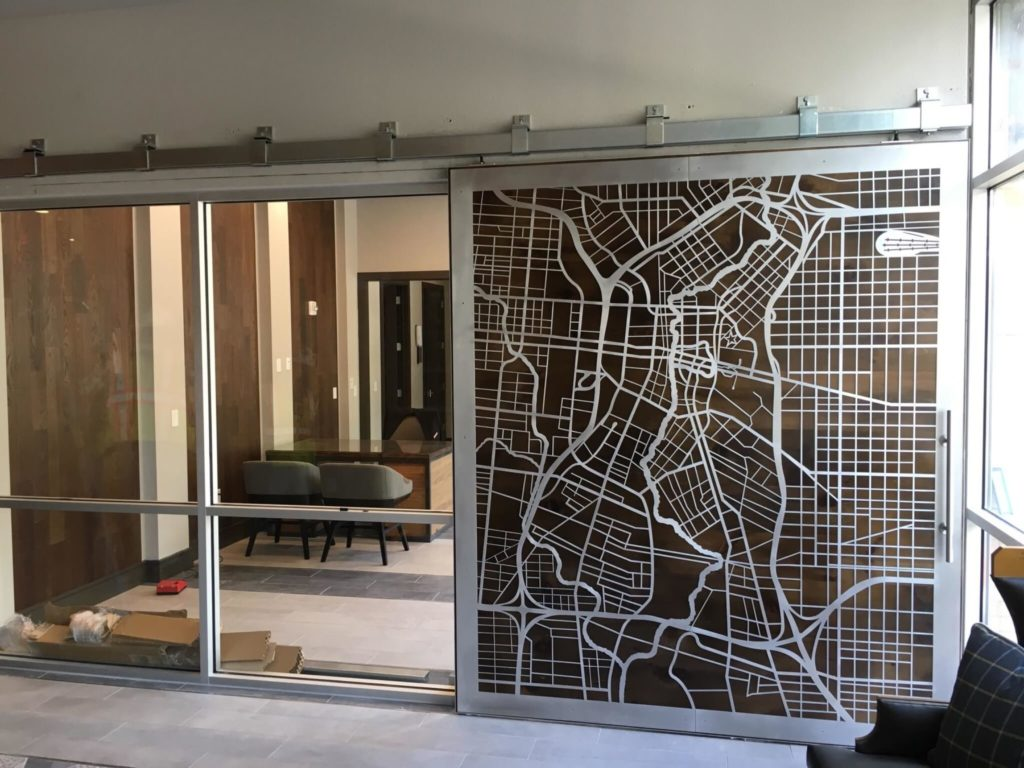 Sliding Door Metal and Wood City Map ENSO
