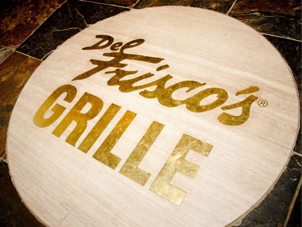 Custom Design Stone Brass Floor Inlay Del Frisco Logo ENSO