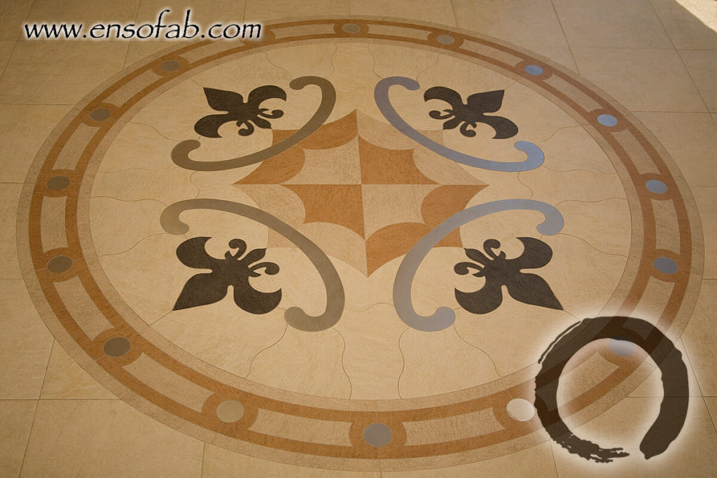 Stone Medallion Fleur de Lis Holly Entry ENSO