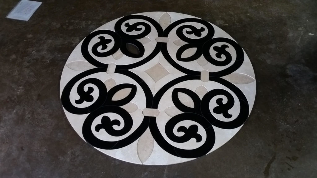 Stone Medallion Inlay Lotus Cross Design ENSO