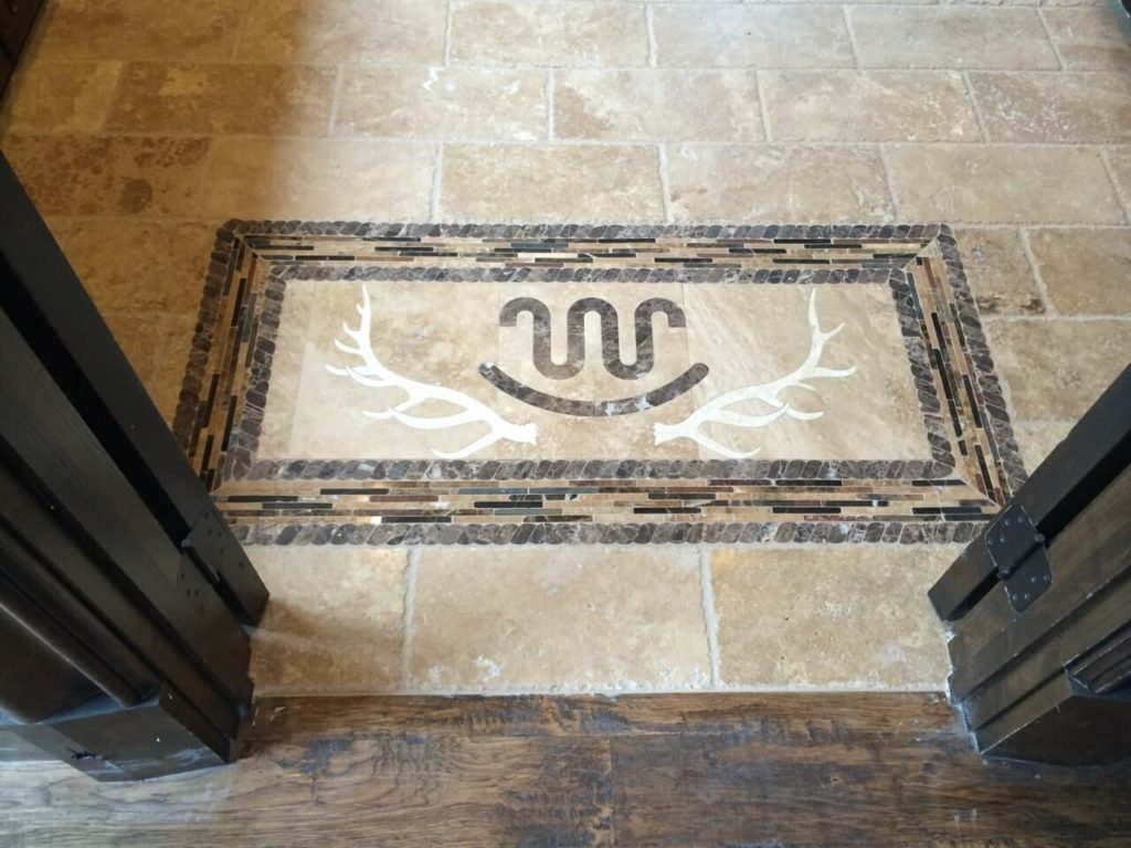 Stone Medallion Inlay Rockin W Antlers Design ENSO