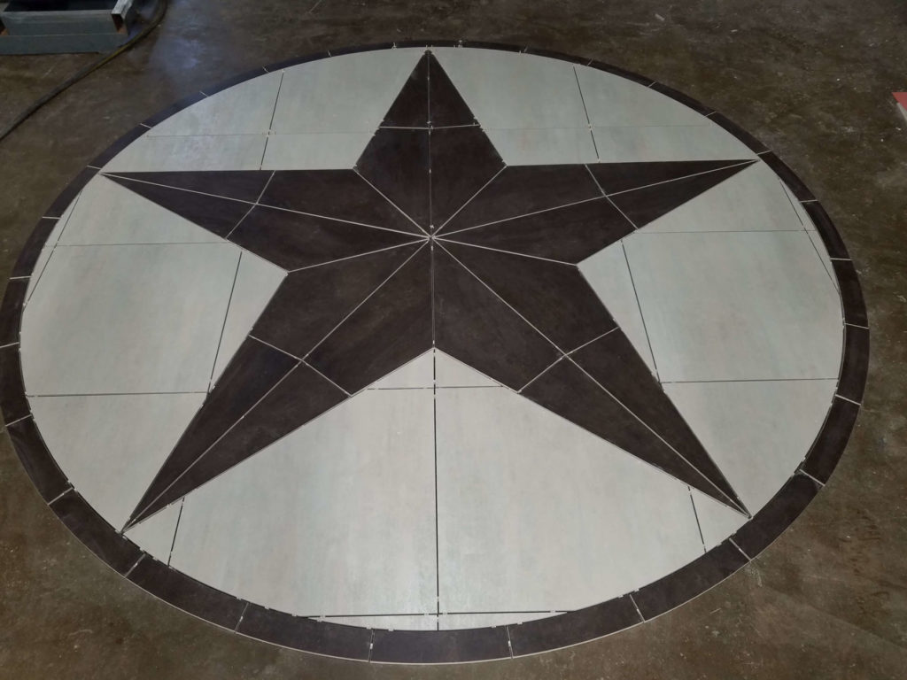 Stone Medallion Inlay Texas Star Post Fabrication ENSO