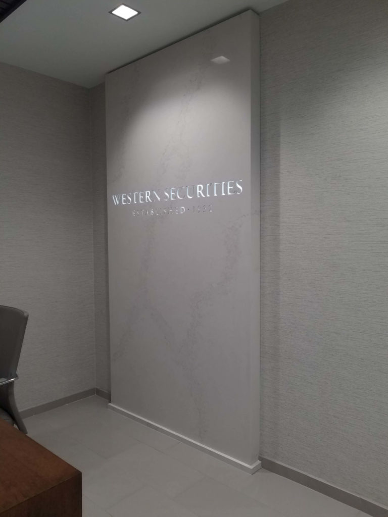 Custom Cut Design Signage Stone Slab Western Securities ENSO