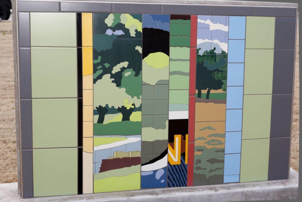 Whimsical Tile Street Art Mural Forest Park Scene ENSO