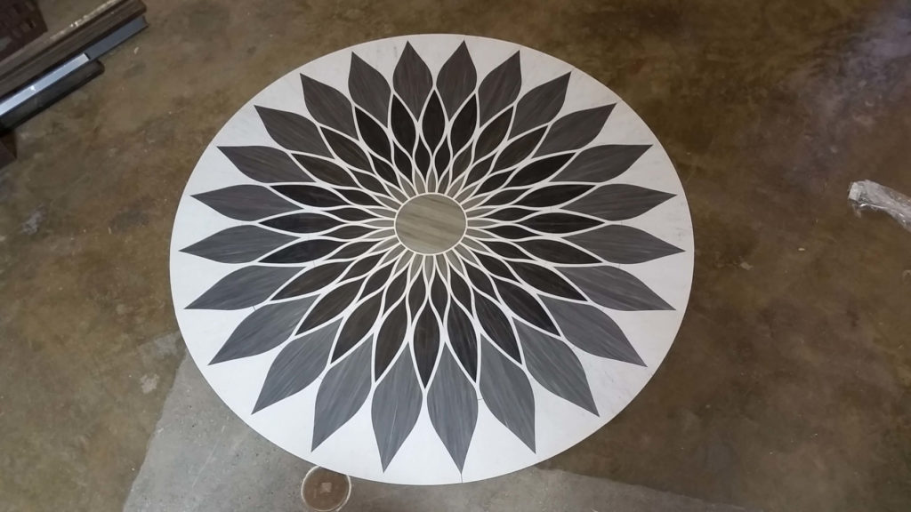 Custom Wood Floor Medallion Geometric Flower Fabrication ENSO