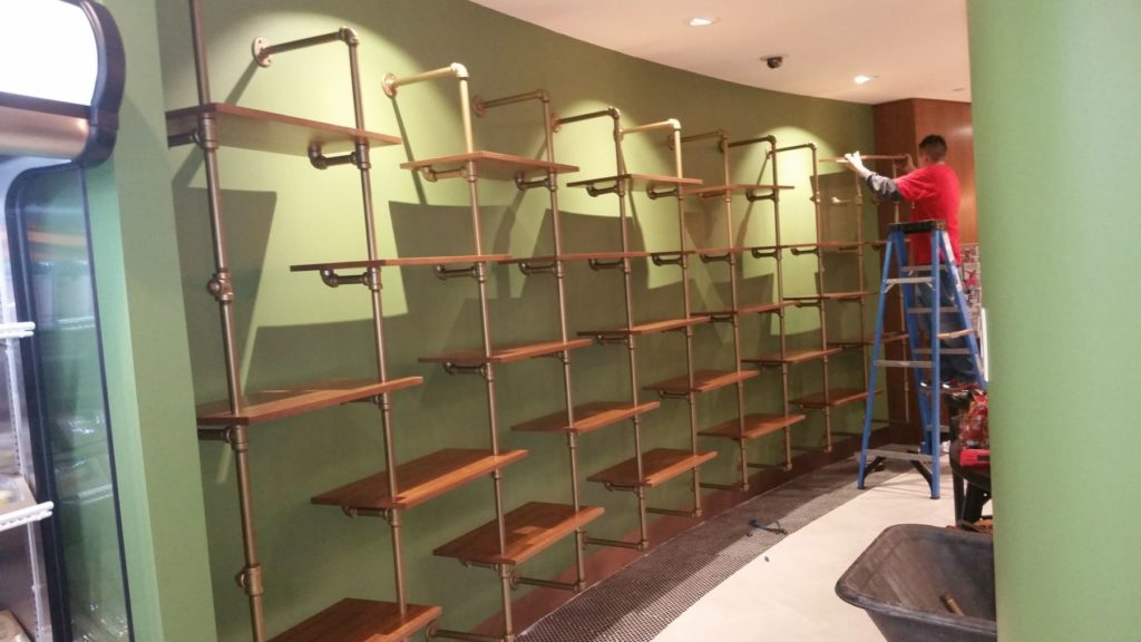 Architectural Galvanized Pipe Shelving Installation ENSO