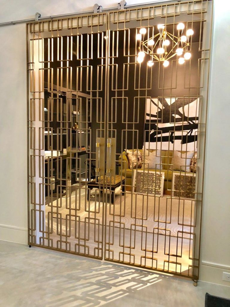 Custom Metal Welded Brass Finish Sliding Doors ENSO