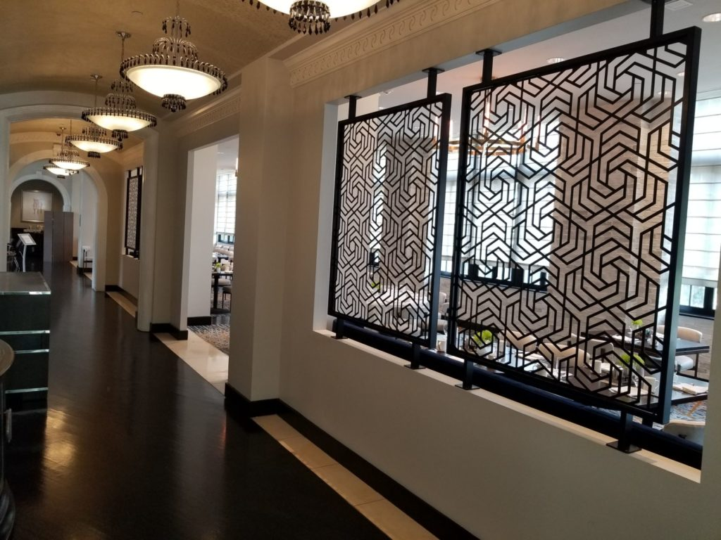 Decorative Metal Screen Stoneleigh Hotel Dallas Corridor View ENSO