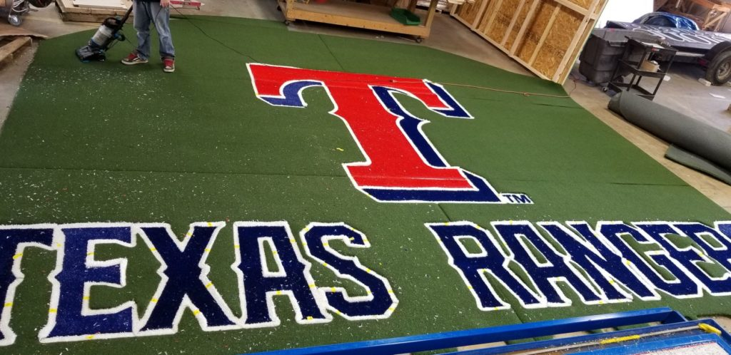 Custom Carpet Inlay Texas Rangers Waterjet ENSO