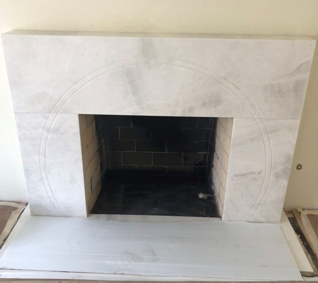 Custom Etched Marble Fireplace Facing ENSO