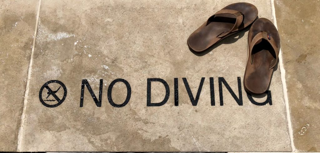 Custom Etching Pool Marker No Diving Stone Sign ENSO