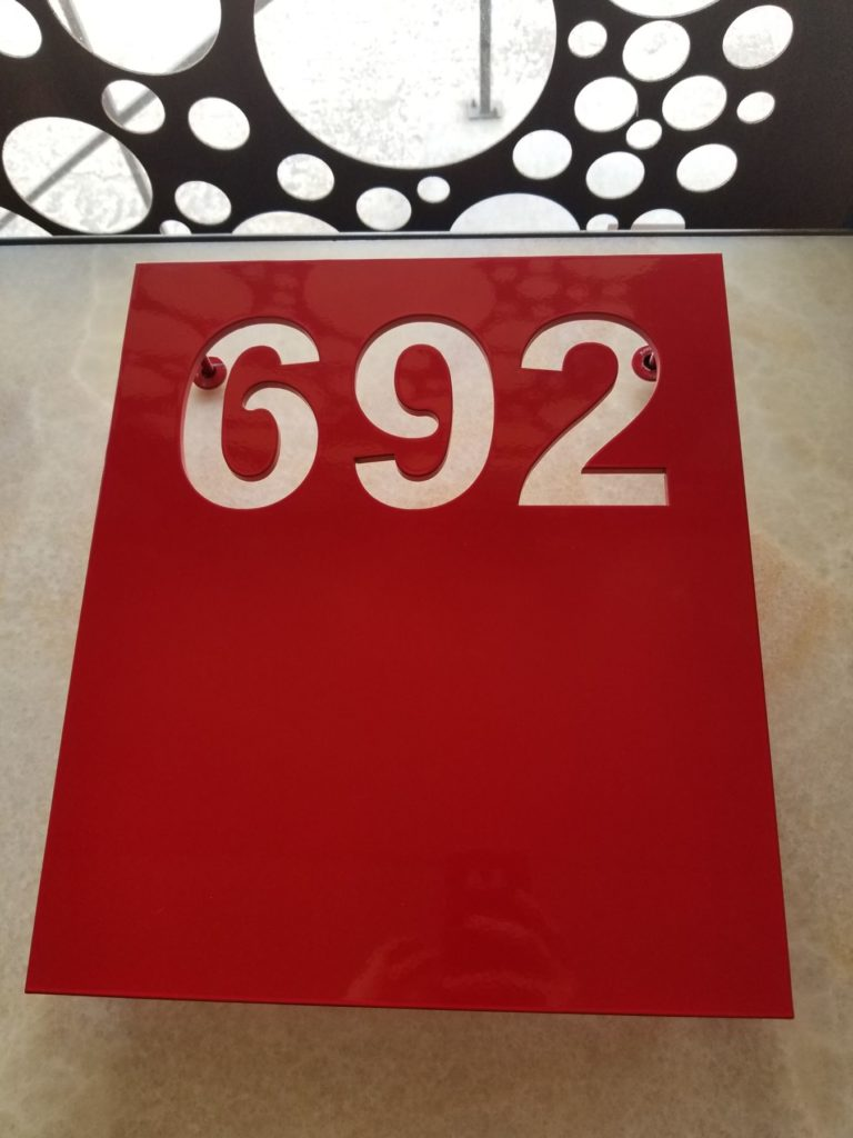 Custom Metal Red Address Numbers Sign ENSO