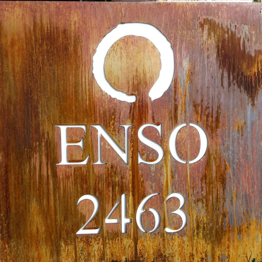 Custom Rusty Metal Address Sign ENSO